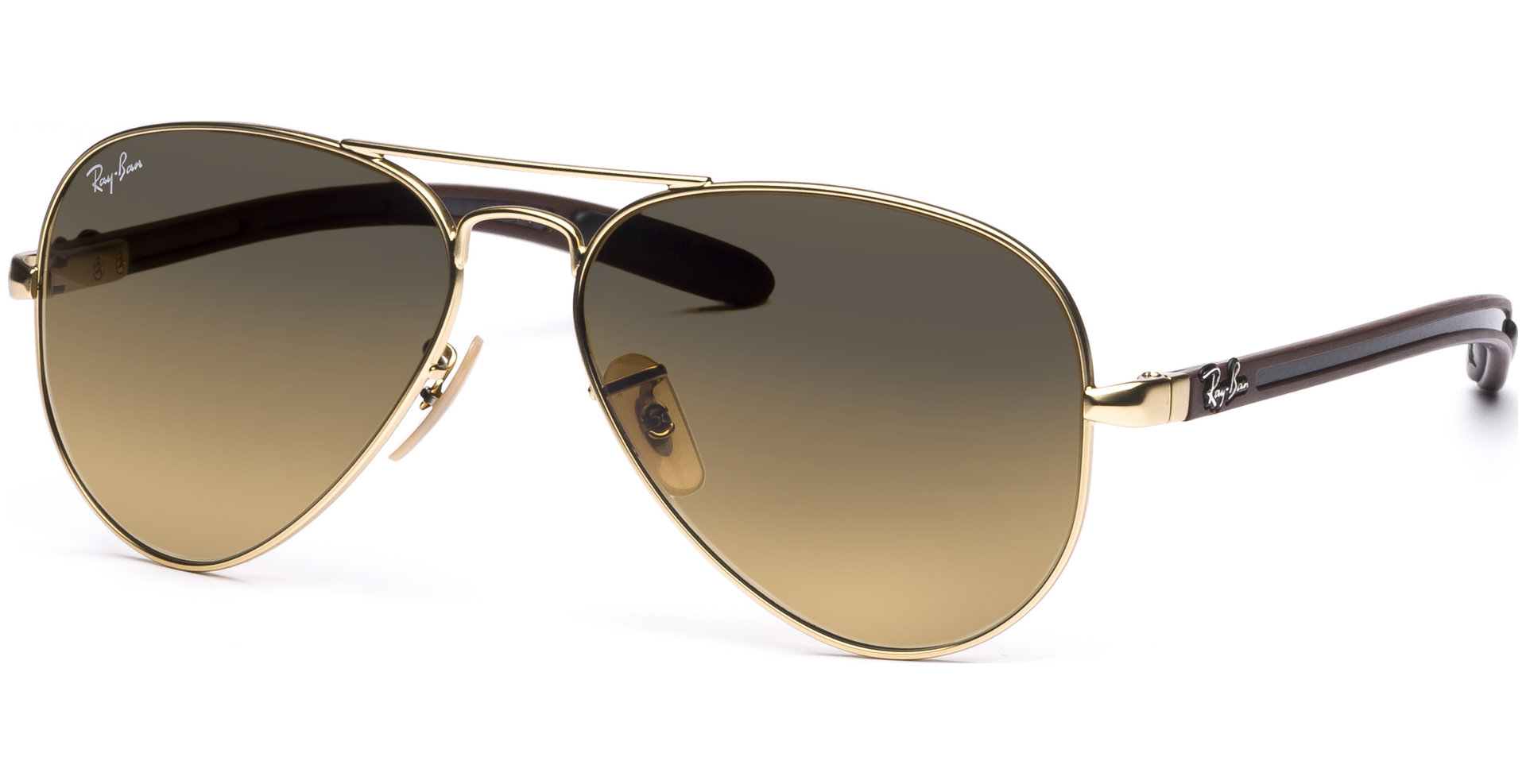 ray ban matte gold aviator  Ray-Ban - Aviator Carbon Fibre RB8307 112/85 5814 Matte Gold/Brown ...